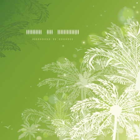 Green glowing palm trees square template background Vector