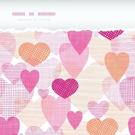 horizontal: Textured fabric hearts torn horizontal seamless background