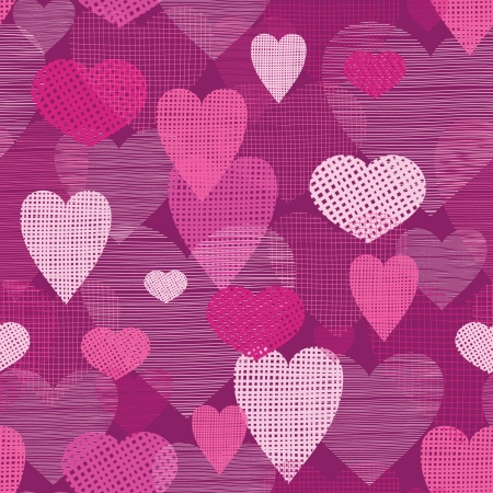 Fabric hearts romantic seamless pattern background Çizim