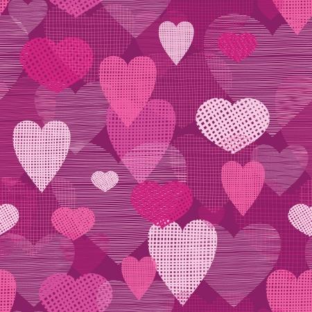 Fabric hearts romantic seamless pattern background Stock Illustratie