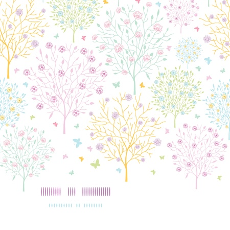 Blossoming trees horizontal template seamless background Vector