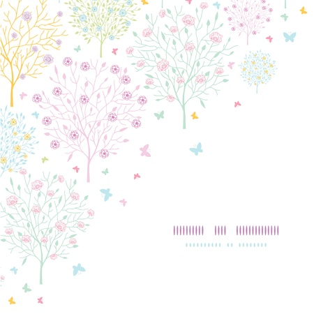 japanese garden: Blossoming trees corner template seamless background Illustration