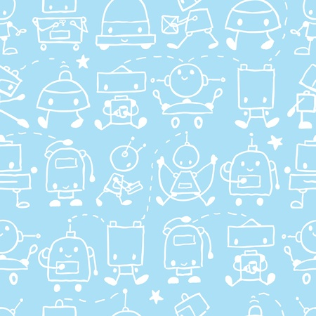Doodle robots fun seamless pattern background Stock Vector - 17835706