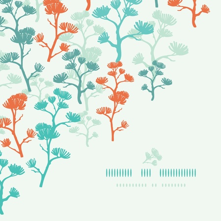 Abstract oriental trees frame corner seamless background Vector