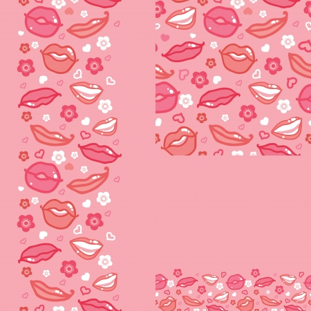 Lips set of seamless pattern backgrounds and borders Vector