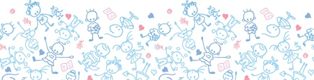 Playing children horizontal seamless pattern border Illustration