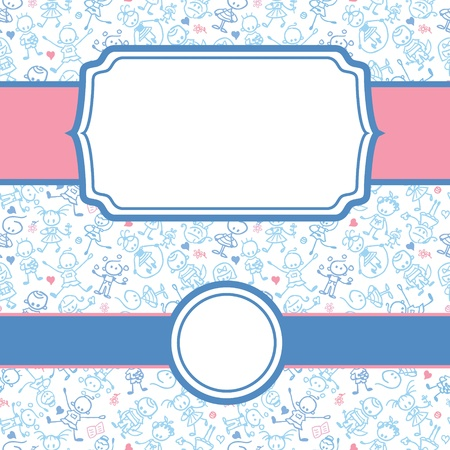 simple girl: Playing children frame seamless pattern background