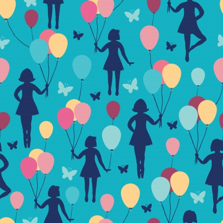 Girls holding balloons seamless pattern background Stock Vector - 17835748