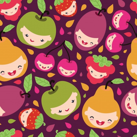 Happy fruit characters seamless pattern Çizim