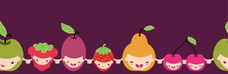 Happy fruit characters horizontal seamless pattern border Vettoriali