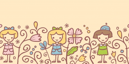 Girls with flowers horizontal seamless pattern background Vector