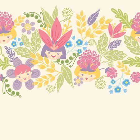 Flower girls horizontal seamless pattern background border Stock Vector - 17835771