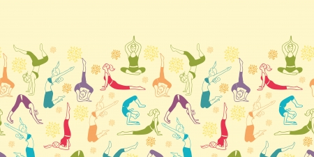 Workout fitness girls horizontal seamless pattern background