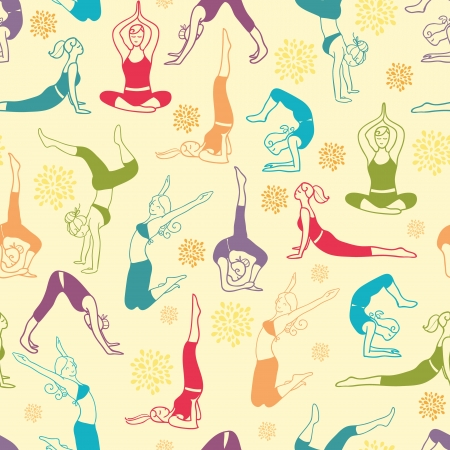 Workout fitness girls seamless pattern background Vettoriali