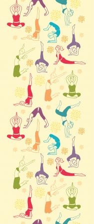Workout fitness girls vertical seamless pattern background