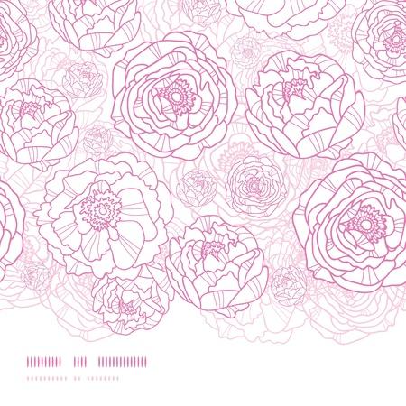 Fleurs roses d'art en ligne horizontale de fond seamless pattern Banque d'images - 17965914