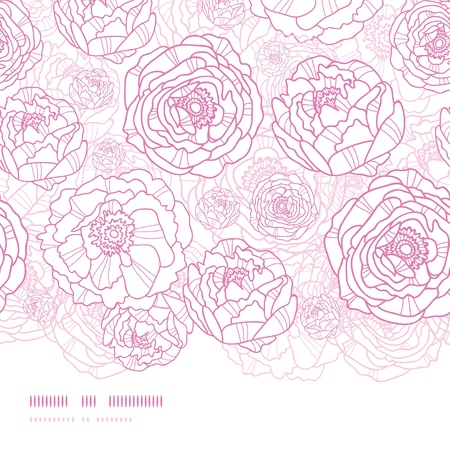 Pink line art flowers horizontal seamless pattern background Vectores