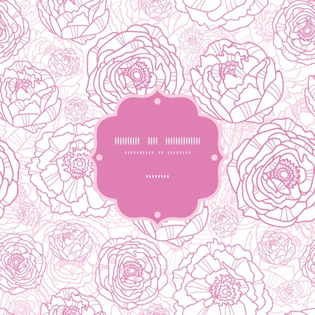 Pink line art flowers frame seamless pattern background Vector