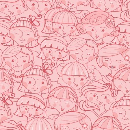 群衆のシームレスなパターン背景の女の子
