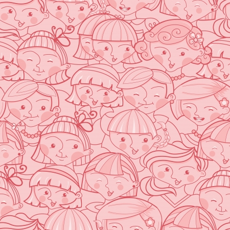 Girls in the crowd seamless pattern background Ilustração