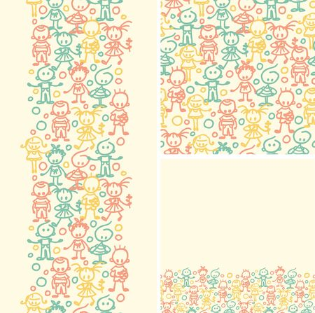 Doodle happy children seamless pattern background