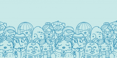 People in a crowd horizontal seamless pattern background
