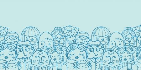 Mensen in een menigte horizontale naadloze patroon achtergrond