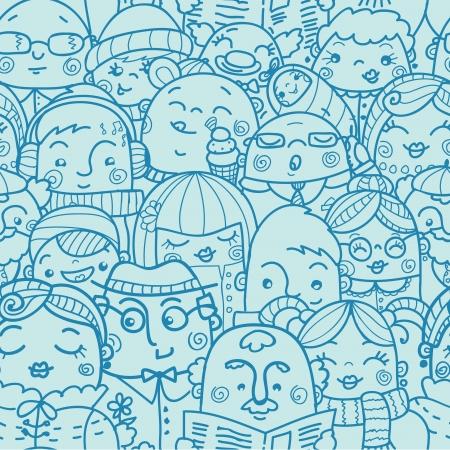 corporate social: La gente in una folla senza soluzione di continuit� di fondo del modello Vettoriali