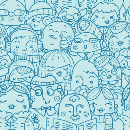 social worker: People in a crowd seamless pattern background