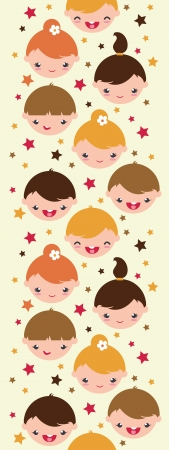 light brown hair: Smiling children vertical seamless pattern background Illustration