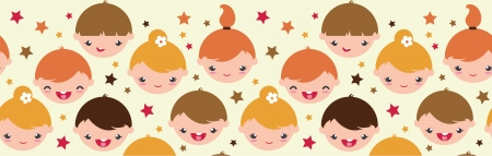 light brown hair: Smiling children horizontal seamless pattern background