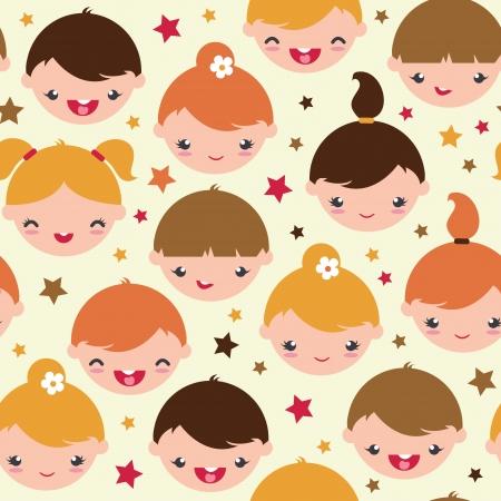 Smiling children seamless pattern background Vector