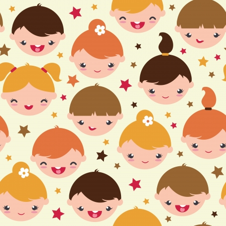 light brown hair: Smiling children seamless pattern background Illustration