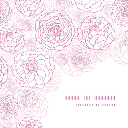 Pink line art flowers corner seamless pattern background