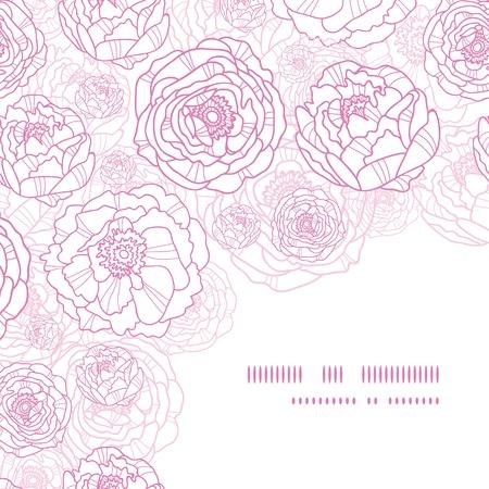 Roze lijn kunst bloemen hoek naadloze patroon achtergrond Stock Illustratie