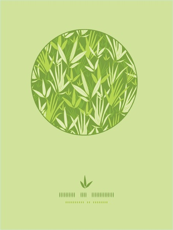 bamboo leaf: Bamboo branches circle template pattern background Illustration