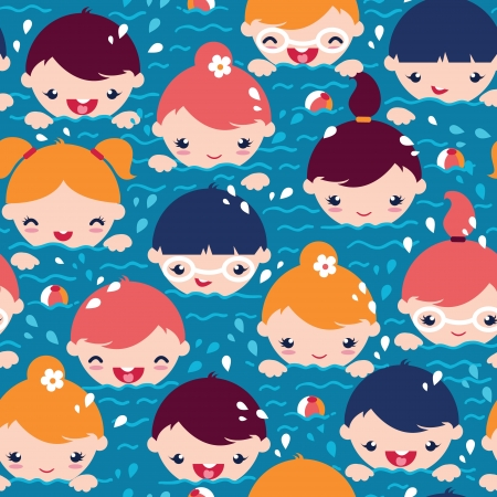 young boy in pool: Children swimming seamless pattern background