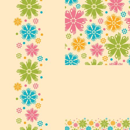 Hands in the flowers abstract seamless pattern background Illustration
