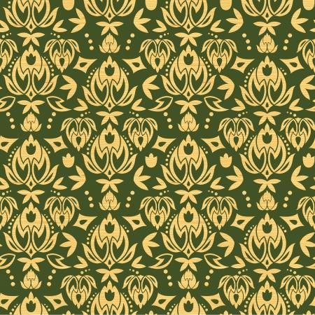 Wooden floral damask seamless pattern background 일러스트