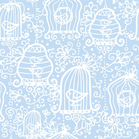 prison house: Drawing of birds in cages seamless pattern background Illustration