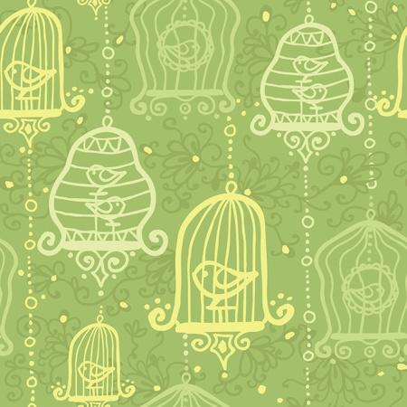 Birds in cages seamless pattern background Ilustração