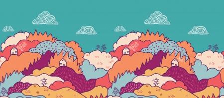 Fall landscape horizontal seamless pattern background border