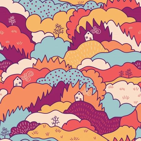 秋の風景のシームレスなパターン背景  イラスト・ベクター素材
