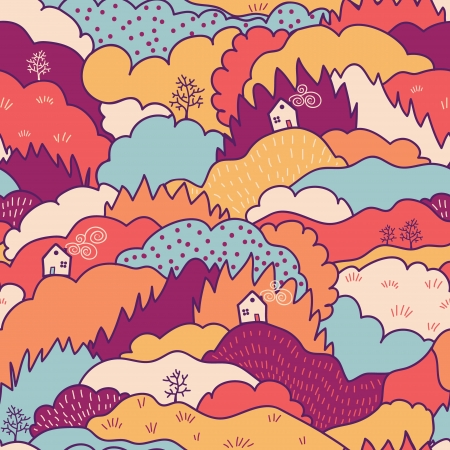 Fall landscape seamless pattern background Vector