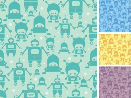 Cute cartoon robots seamless pattern background Stock Vector - 17965933