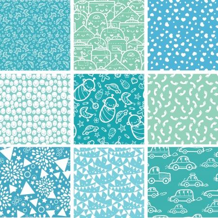 Dziewięć chłopczyk niebieski bez szwu wzory tła kolekcja