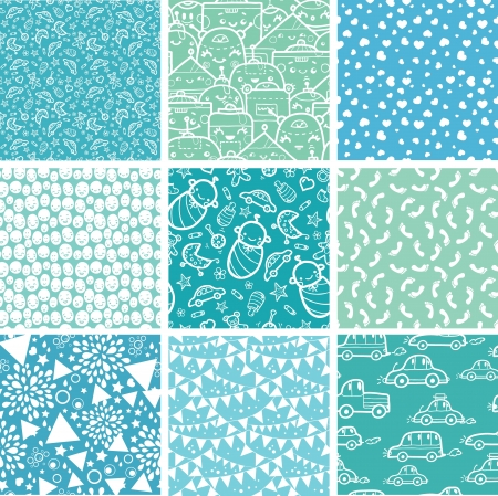 Nine baby boy blue seamless patterns backgrounds collection Çizim