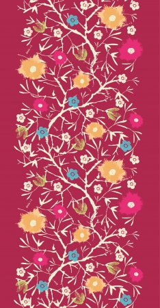 Painterly blossoming tree vertical seamless background raster photo