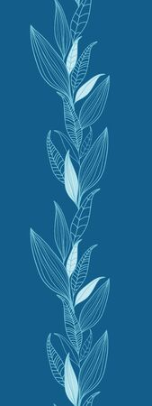 Blue Bamboo Leaves Vertical Seamless Pattern Border Raster Stock Photo - 18011793