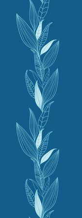 Blue Bamboo Leaves Vertical Seamless Pattern Border Raster Stock Photo - 18011793